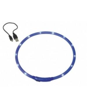 """LED нашийник """"VISIBLE"""" с USB - NOBBY Германия - син - размери М и XL  - Кучета"""